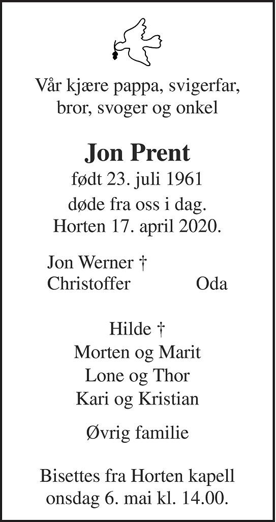 Jon Prent Dødsannonse