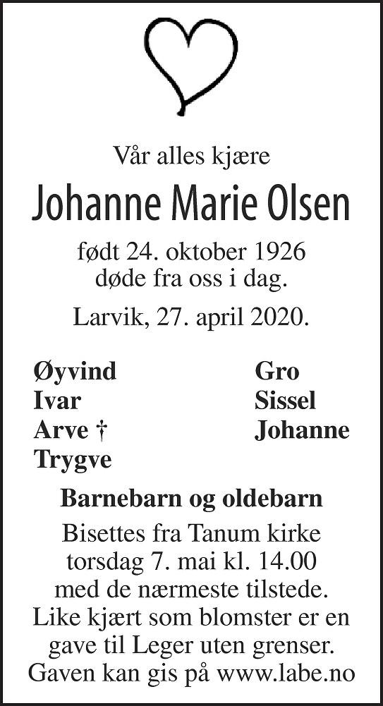 Johanne Marie Olsen Dødsannonse