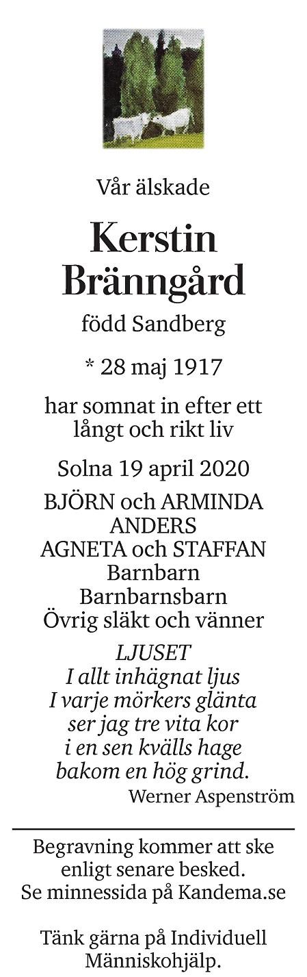 Kerstin  Bränngård Death notice