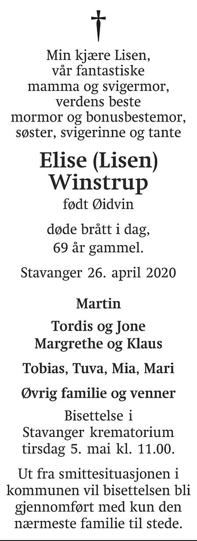 Elise Winstrup Dødsannonse