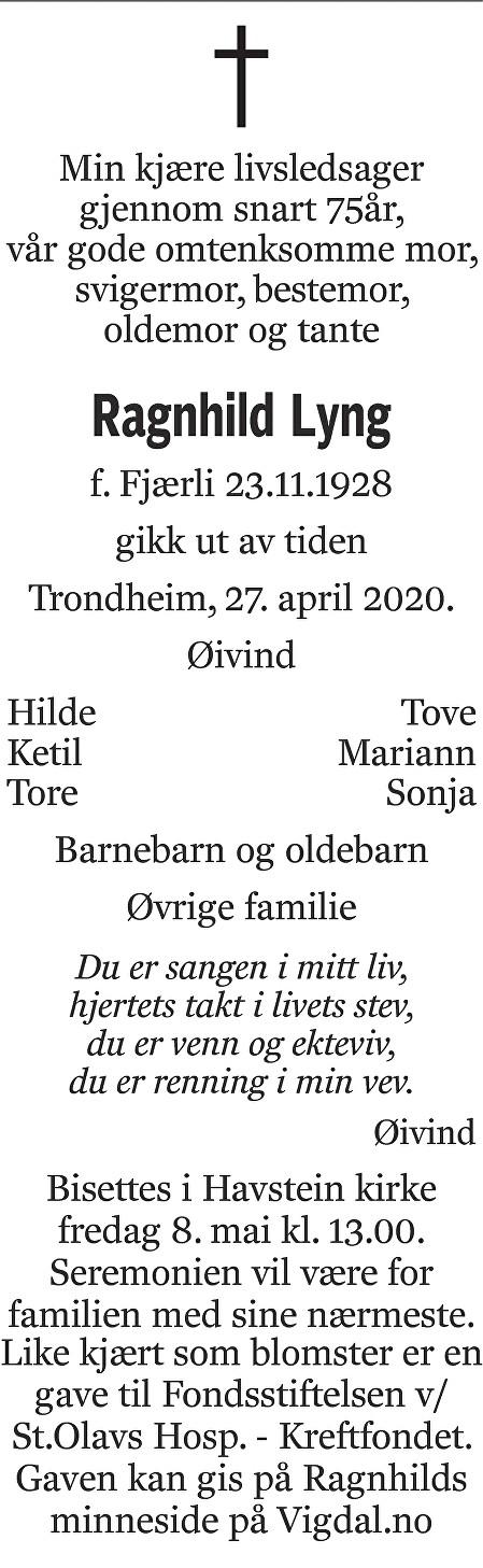 Ragnhild  Lyng Dødsannonse