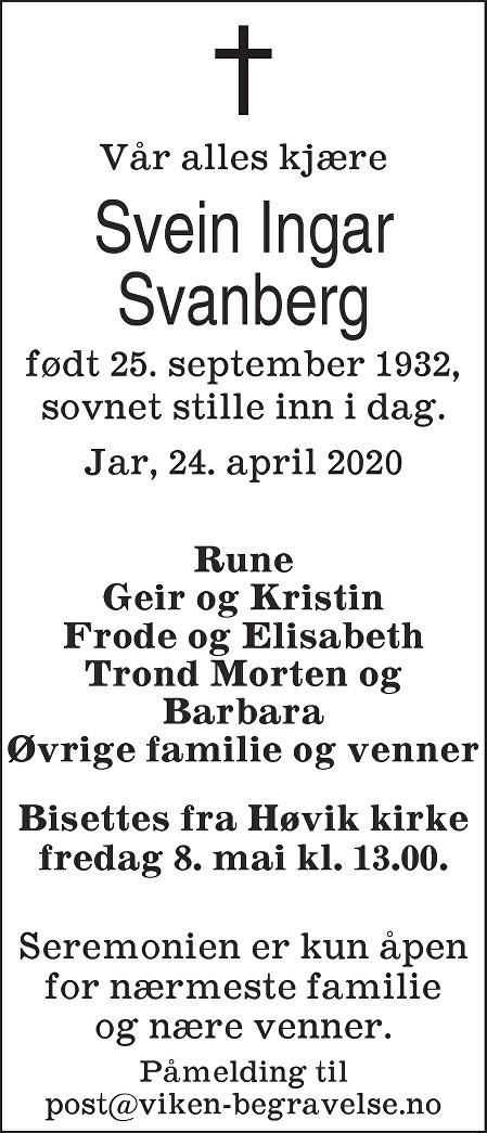 Svein Ingar Svanberg Dødsannonse