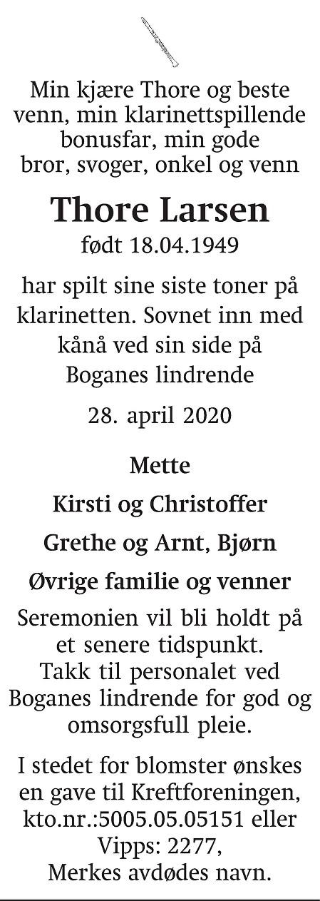 Thore Larsen Dødsannonse
