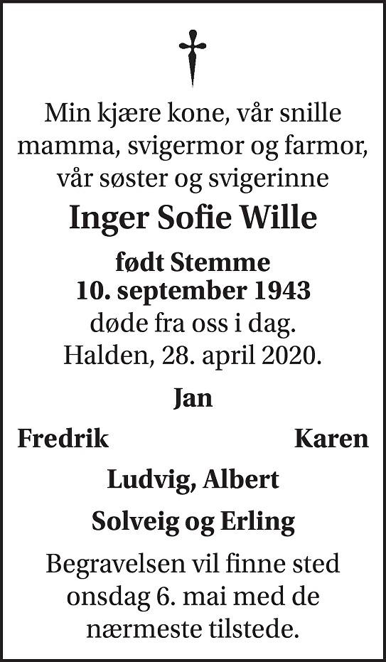 Inger Sofie Wille Dødsannonse