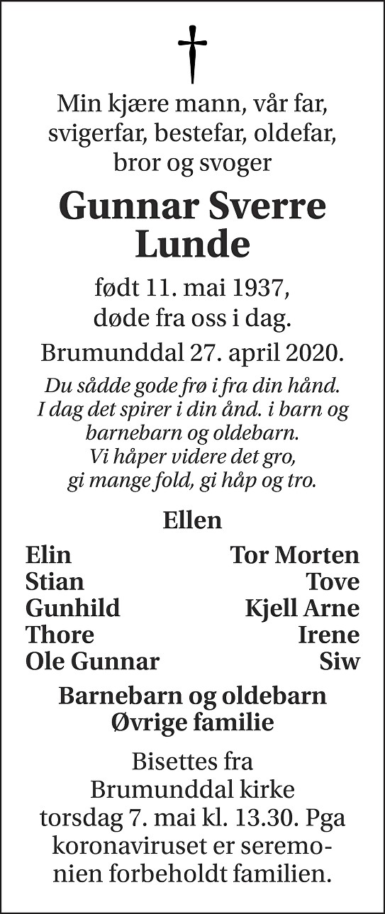 Gunnar Sverre Lunde Dødsannonse