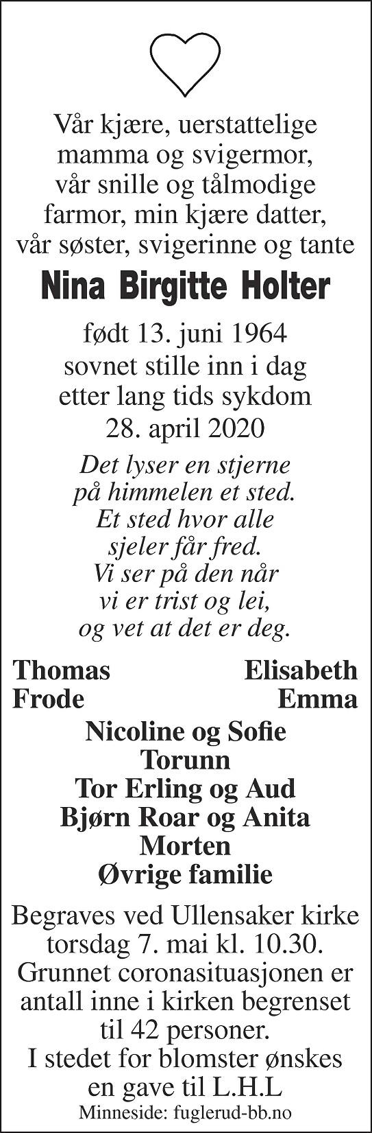 Nina Birgitte Holter Dødsannonse