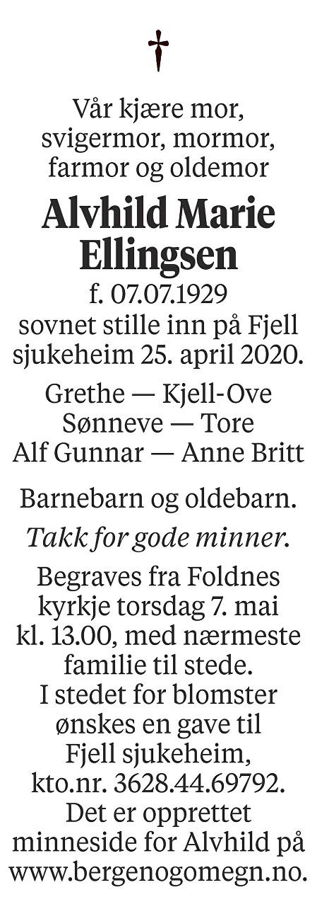Alvhild Marie Ellingsen Dødsannonse