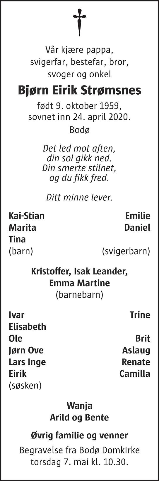 Bjørn Eirik Strømsnes Dødsannonse