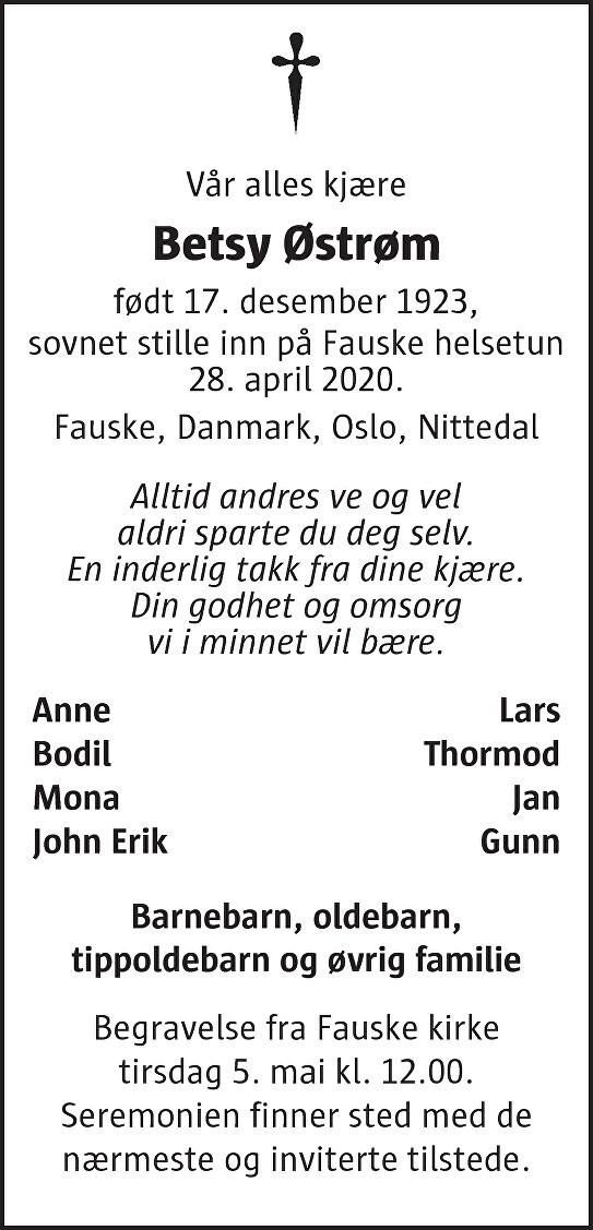 Betsy Østrøm Dødsannonse