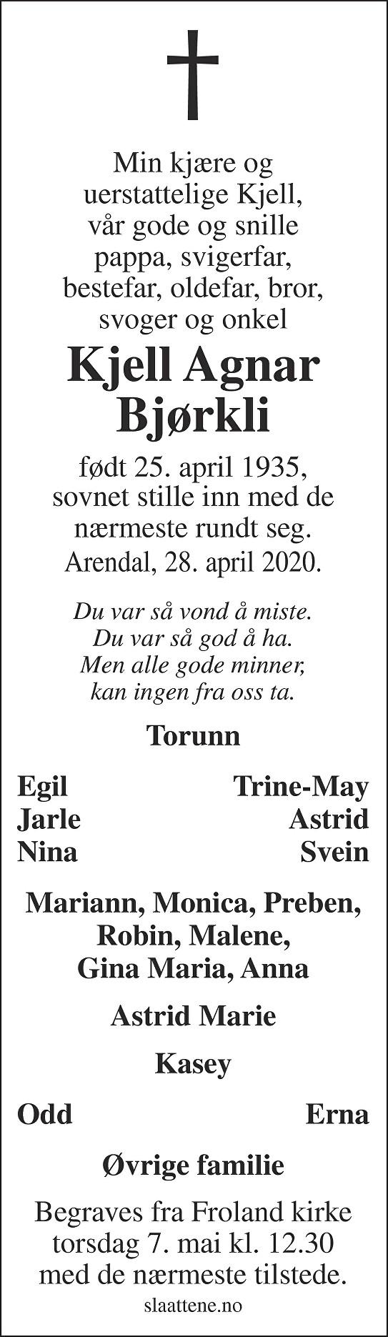 Kjell Agnar Bjørkli Dødsannonse