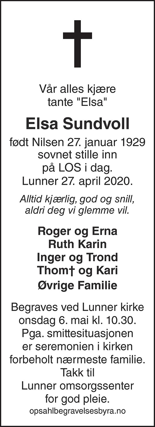 Elsa Sundvoll Dødsannonse
