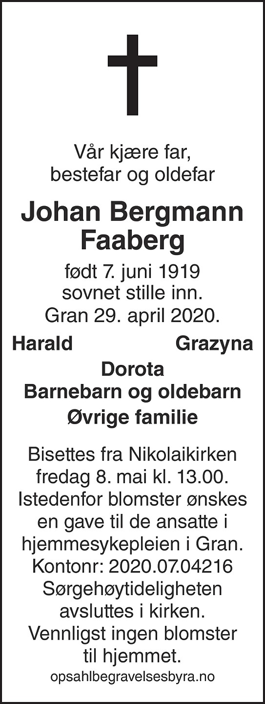 Johan Bergmann Faaberg Dødsannonse