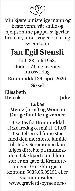 Jan Egil Stensli Dødsannonse