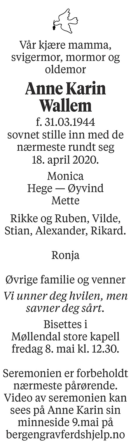 Anne Karin Wallem Dødsannonse