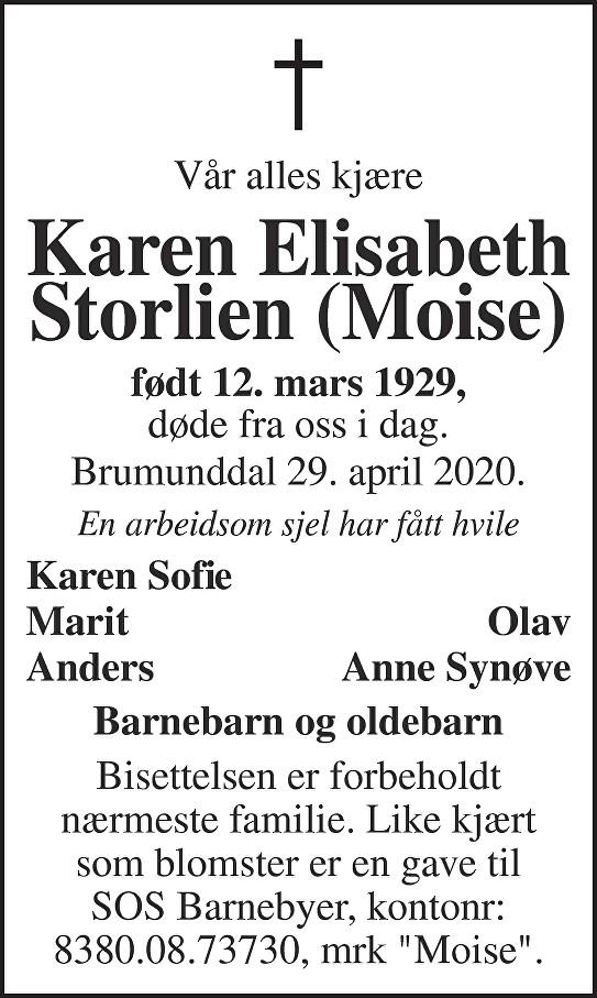 Karen Elisabeth Storlien Dødsannonse