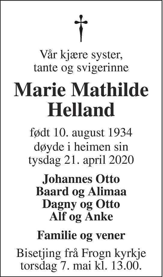 Marie Mathilde Helland Dødsannonse