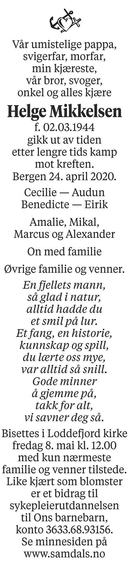Helge Mikkelsen Dødsannonse