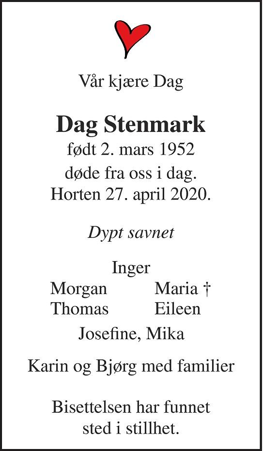Dag Stenmark Dødsannonse