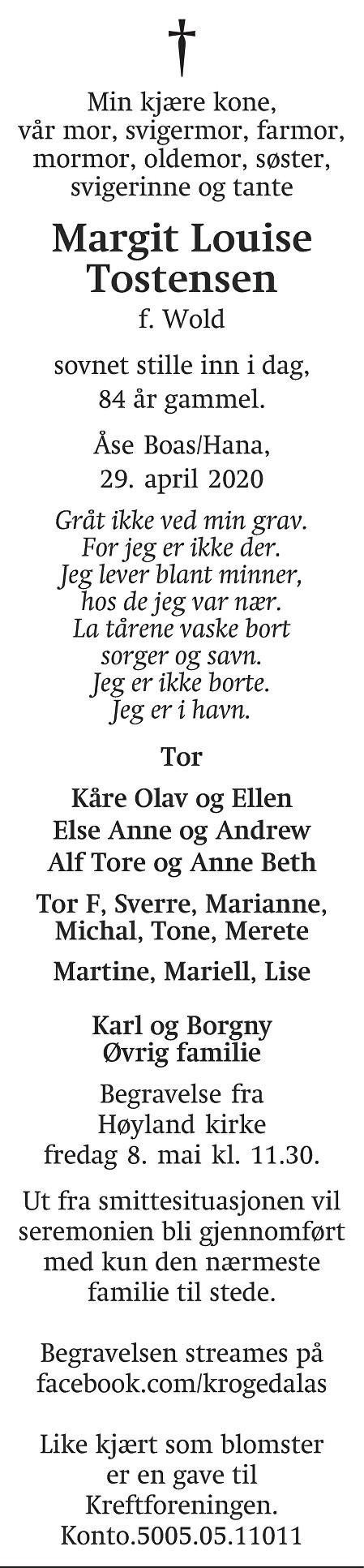 Margit Louise Tostensen Dødsannonse