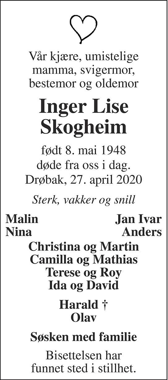 Inger Lise Skogheim Dødsannonse