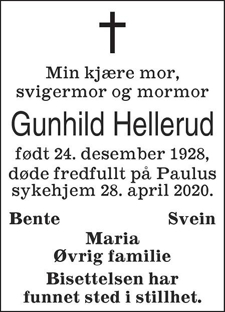 Gunhild Hellerud Dødsannonse