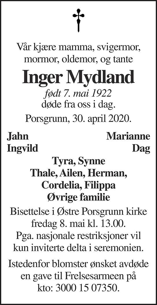 Inger Wilhelmine Mydland Dødsannonse