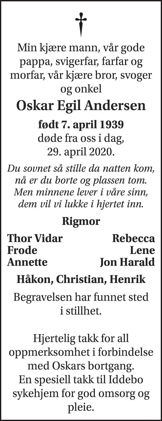 Oskar Egil Andersen Dødsannonse