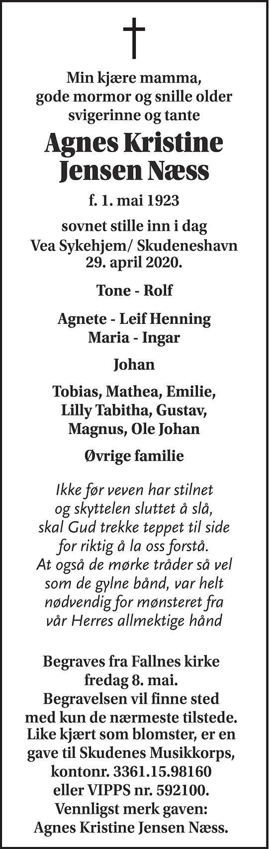 Agnes Kristine Jensen Næss Dødsannonse