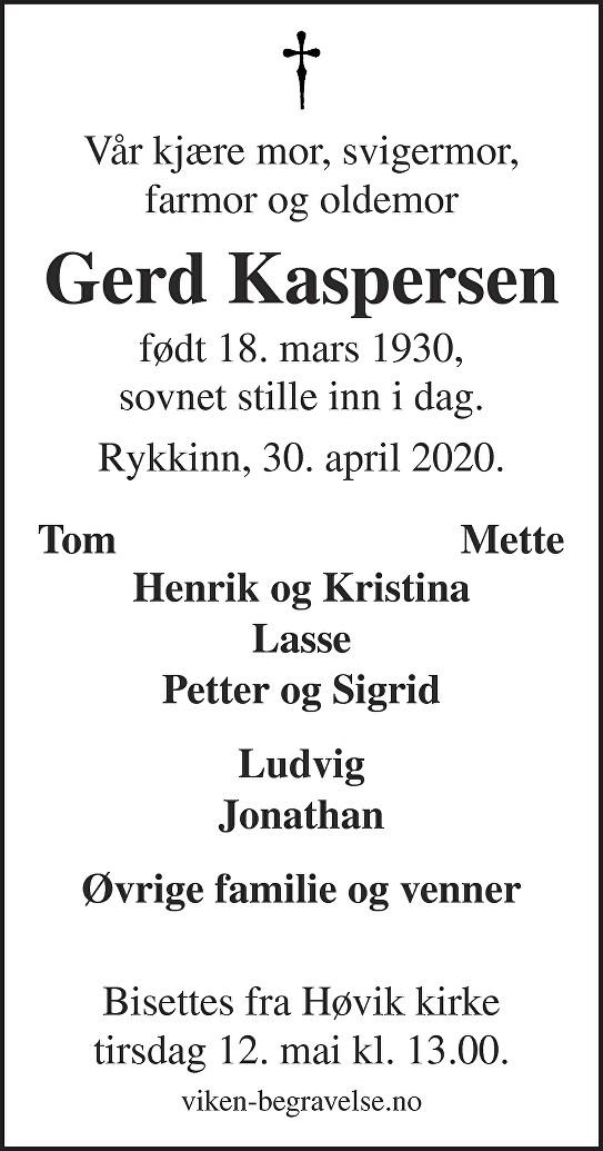Gerd Karin Kaspersen Dødsannonse