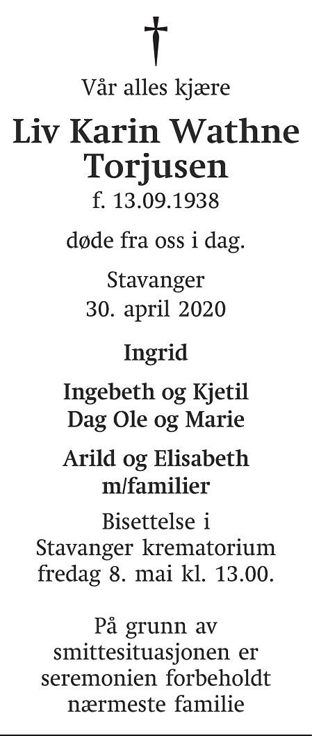 Liv Karin Wathne Torjusen Dødsannonse