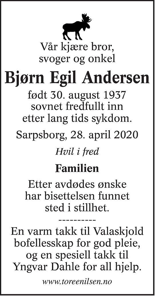 Bjørn Egil Andersen Dødsannonse