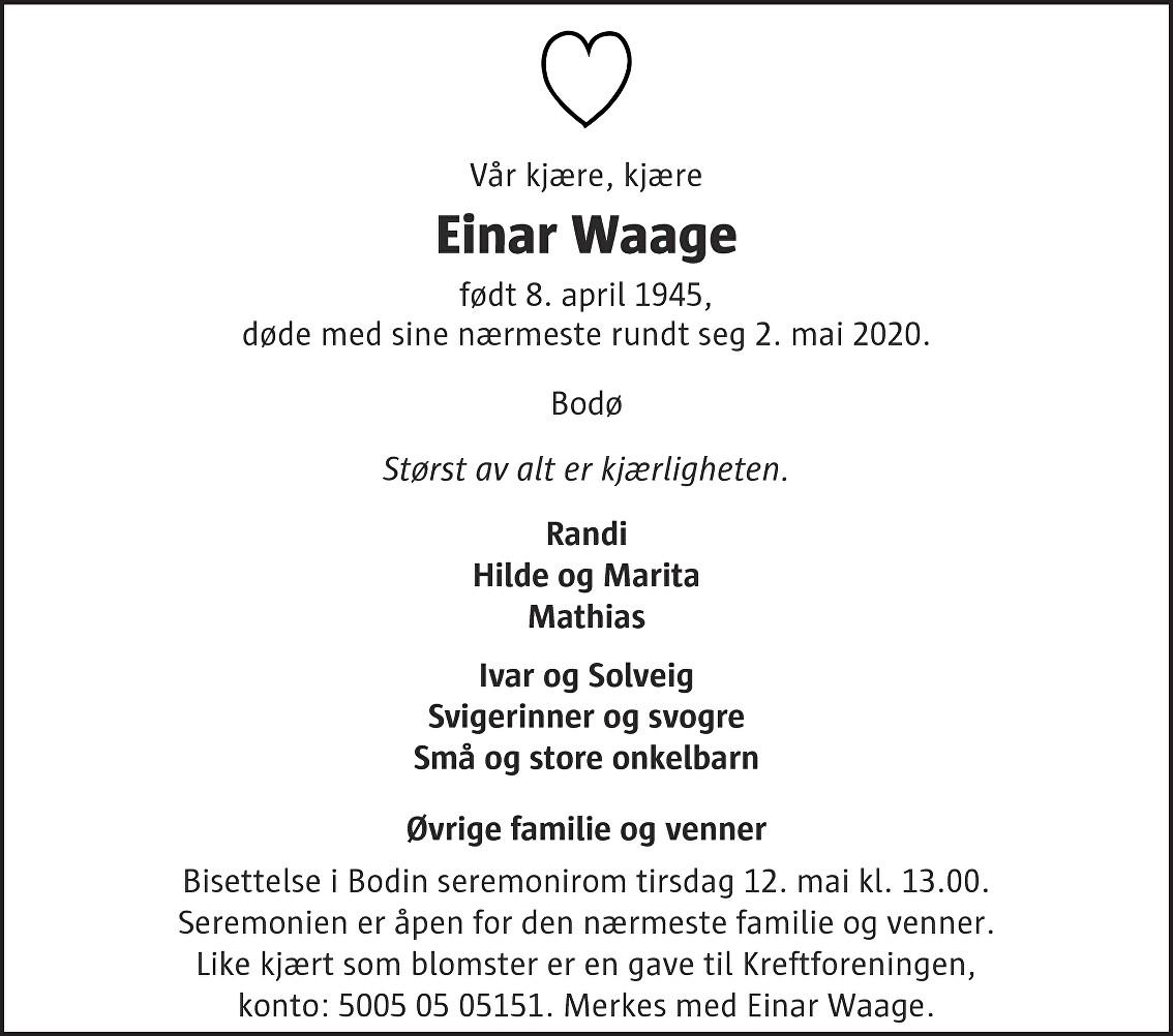 Einar Waage Dødsannonse
