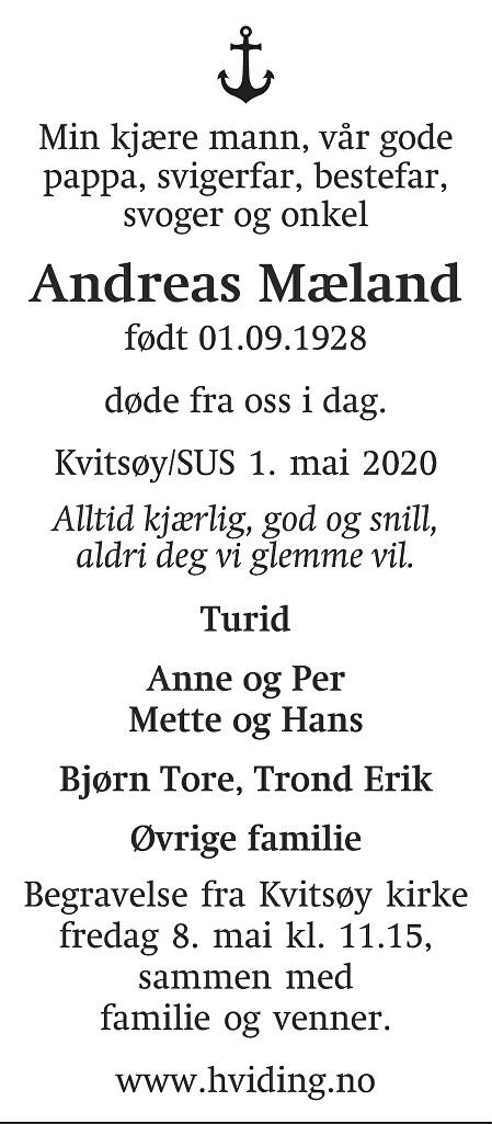 Andreas Mæland Dødsannonse