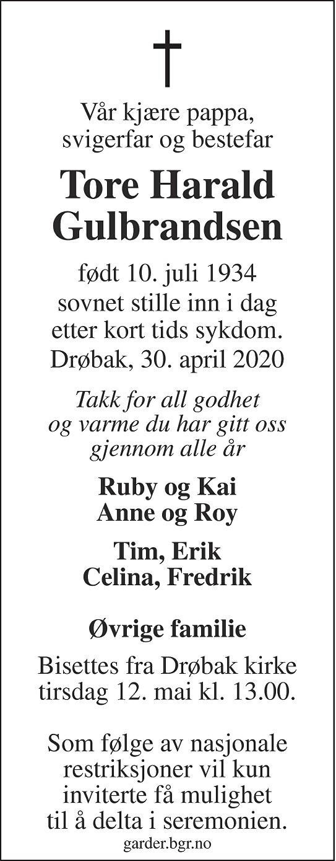 Tore Harald Gulbrandsen Dødsannonse
