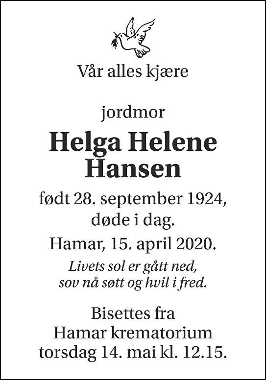 Helga Helene Hansen Dødsannonse