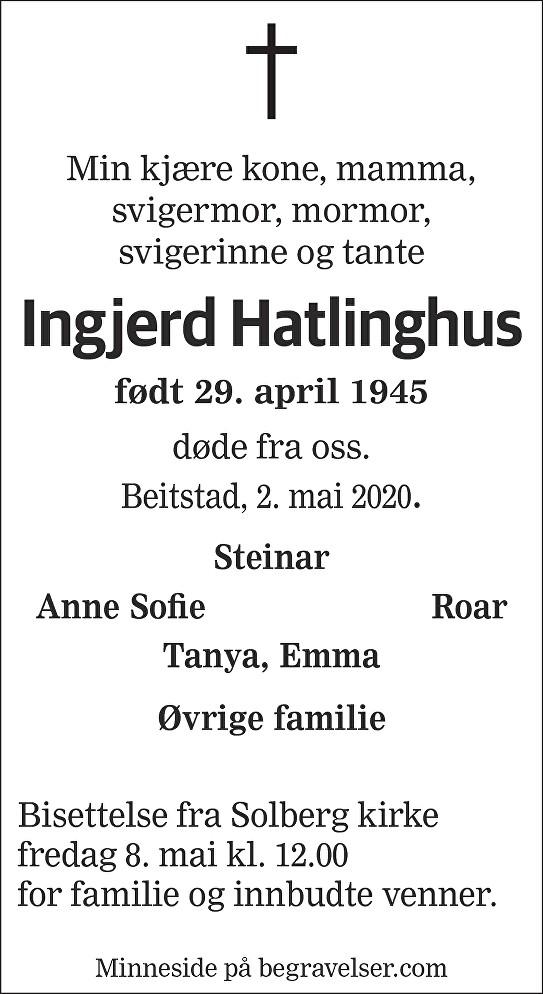 Ingjerd Hatlinghus Dødsannonse