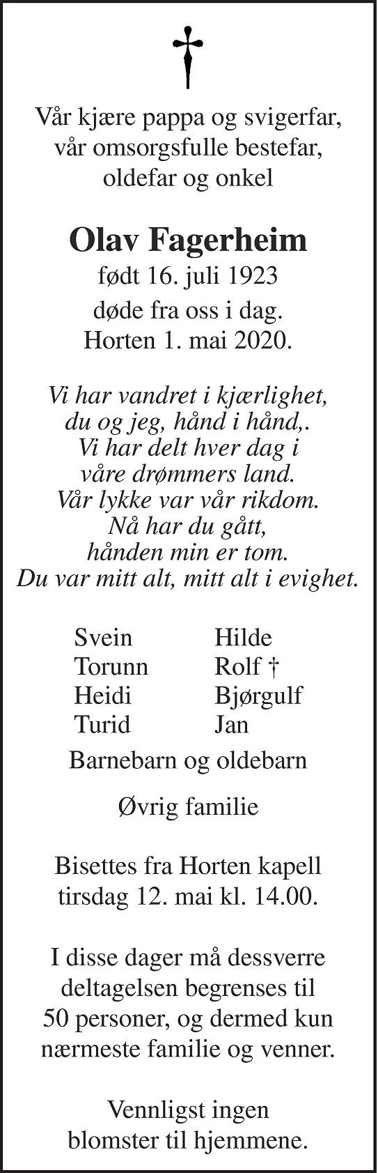 Olav Fagerheim Dødsannonse
