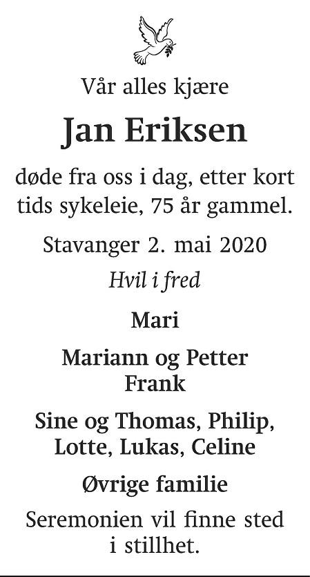 Jan Eriksen Dødsannonse