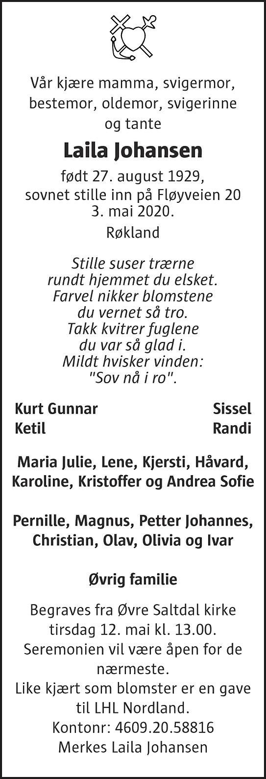 Laila Johansen Dødsannonse