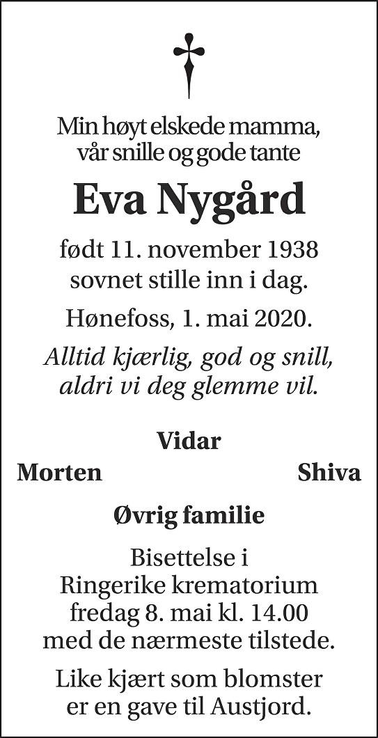Eva Nygård Dødsannonse