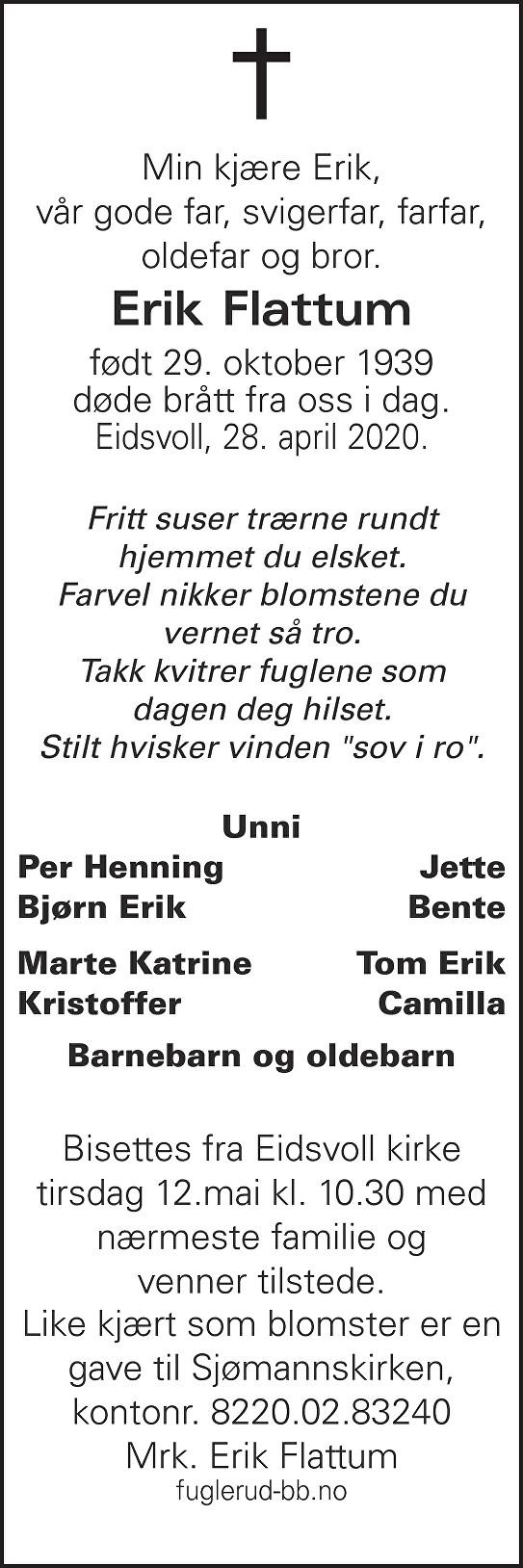Erik Flattum Dødsannonse