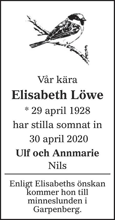 Elisabeth Löwe Death notice