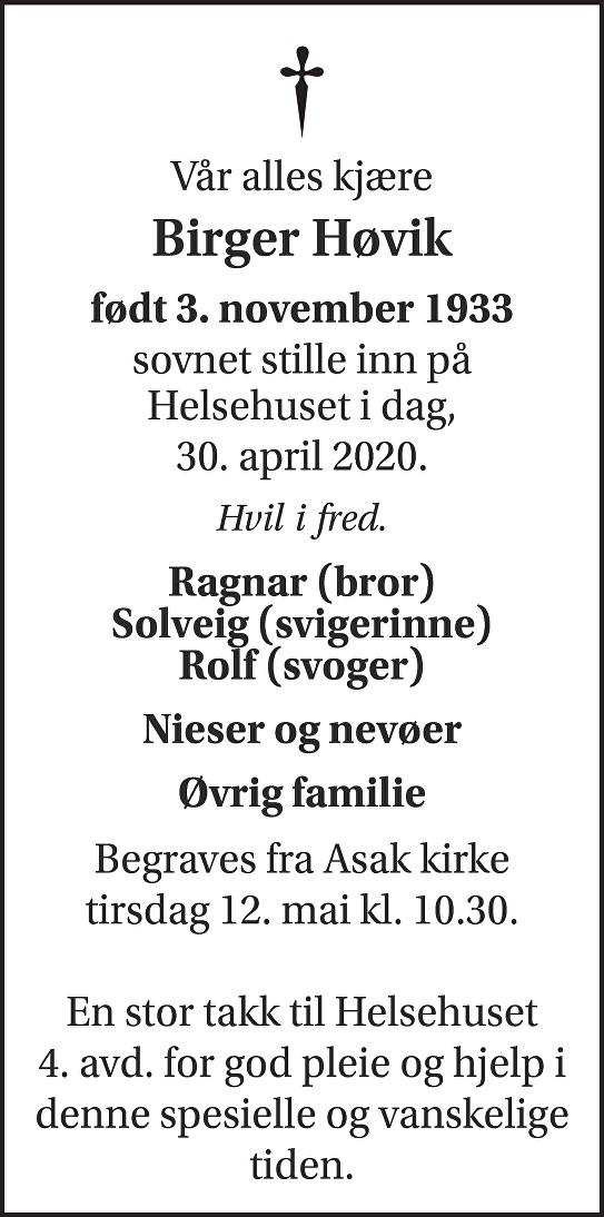 Birger Høvik Dødsannonse