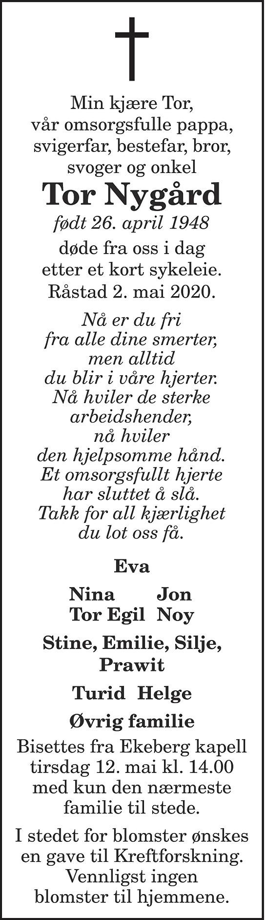 Tor Nygård Dødsannonse