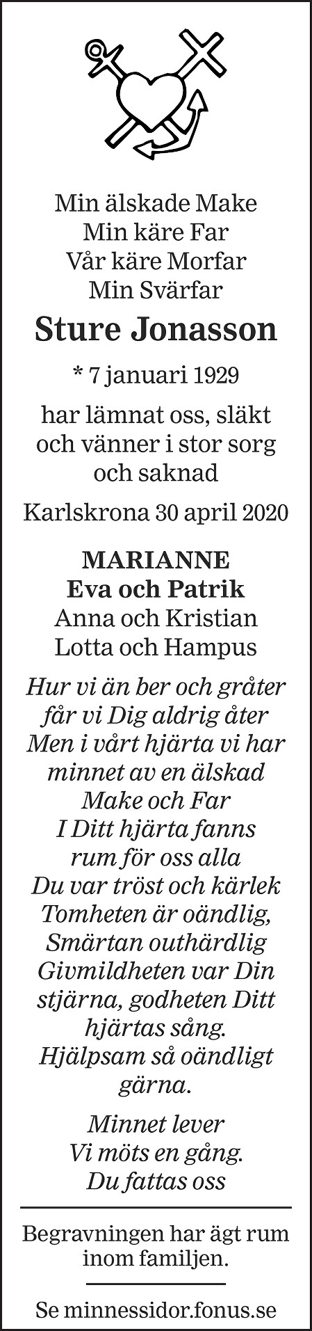 Sture Jonasson Death notice