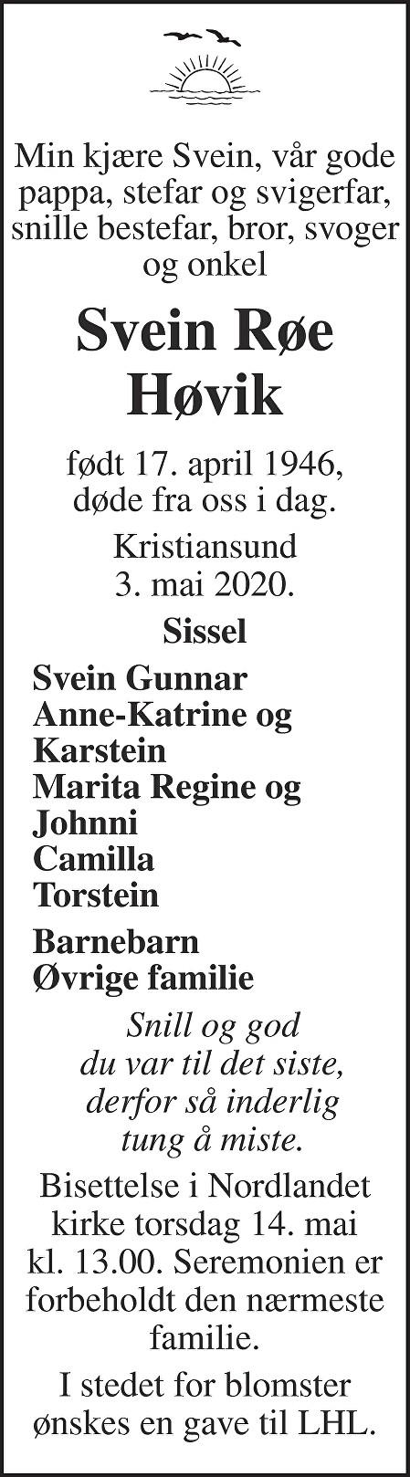 Svein Røe Høvik Dødsannonse