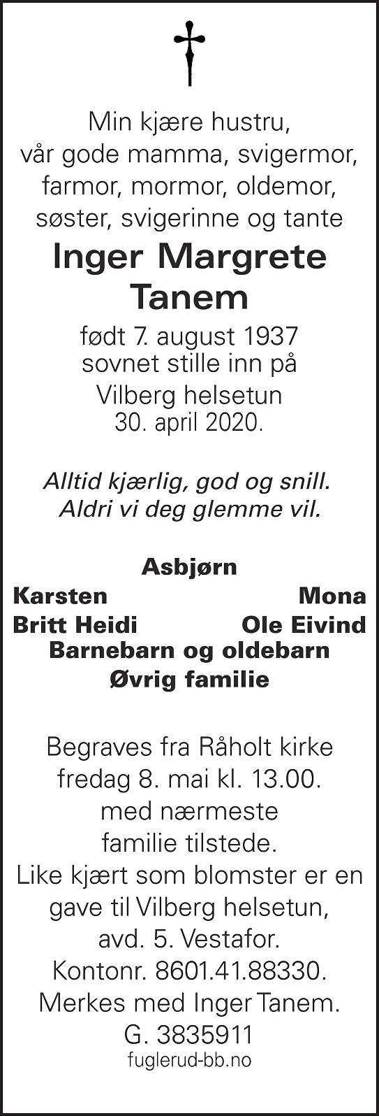 Inger Margrete Tanem Dødsannonse