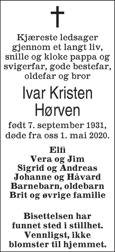 Ivar Kristen Hørven Dødsannonse