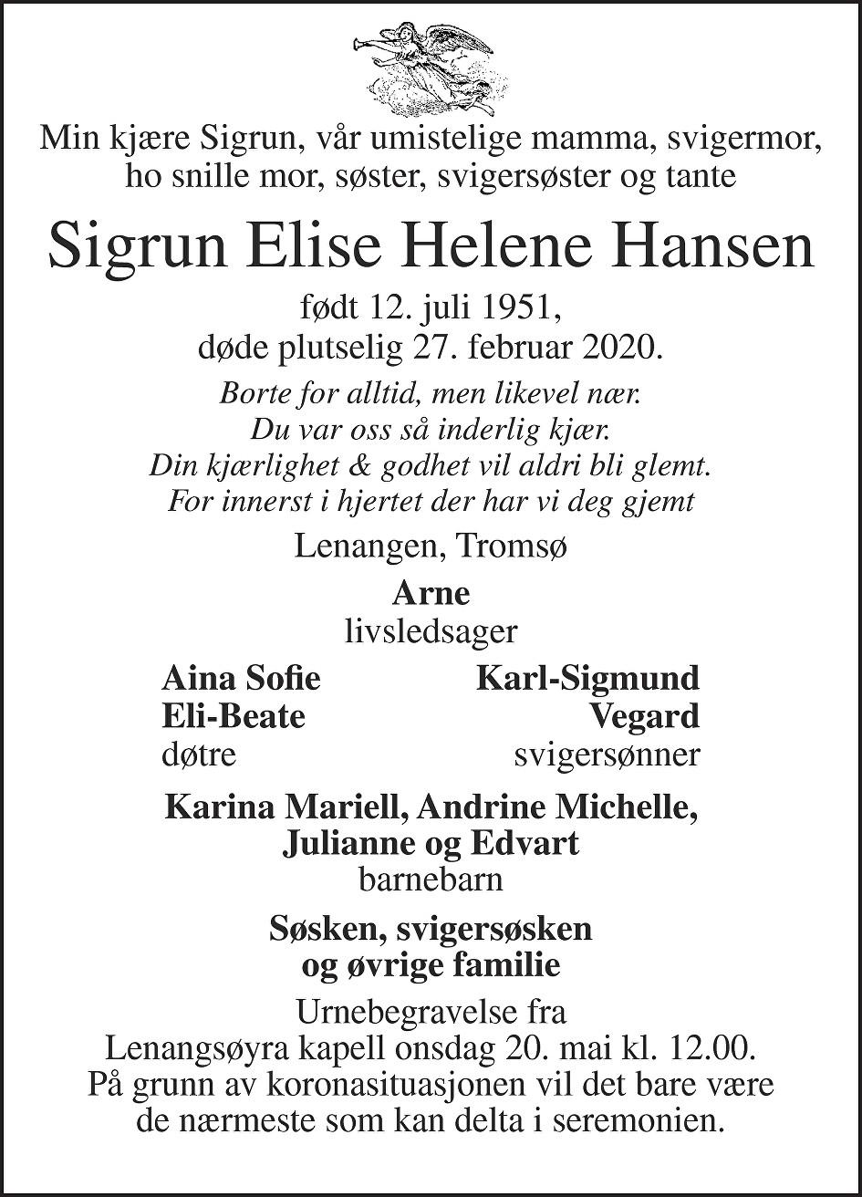 Sigrun Elise Helene Hansen Dødsannonse