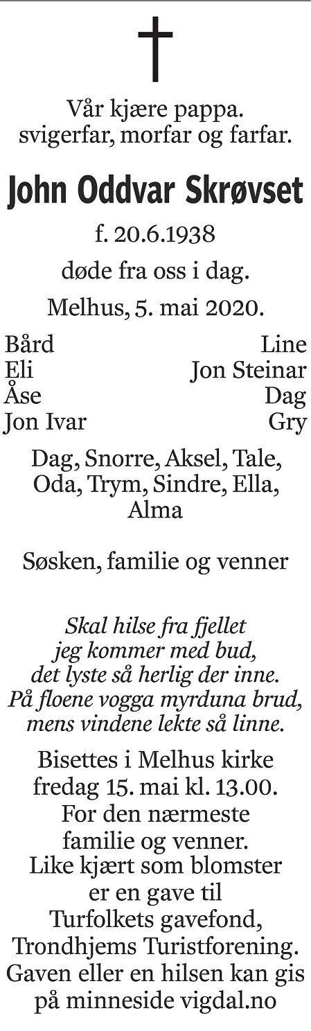 John Oddvar Skrøvset Dødsannonse